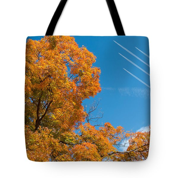 Fall Foliage With Jet Planes Tote Bag