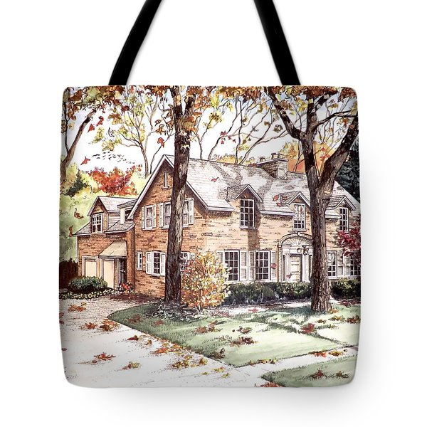 Fall Home Portriat Tote Bag