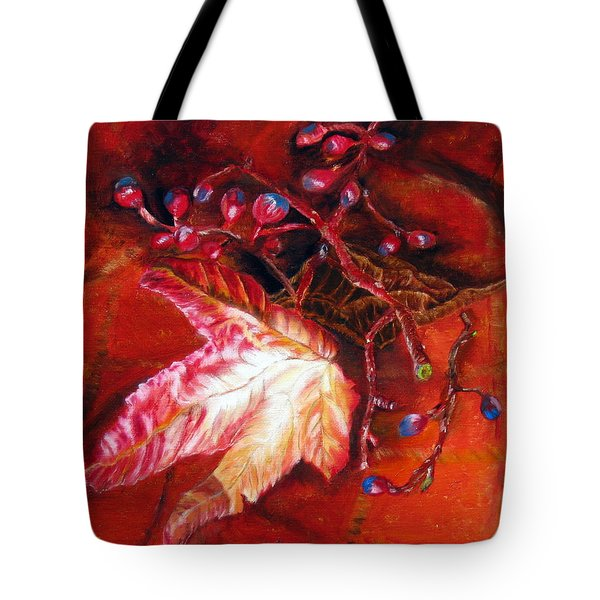 Tote Bag featuring the painting Fall Leaf And Berries by LaVonne Hand