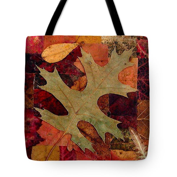 Tote Bag featuring the mixed media Fall Leaf Collage by Anna Ruzsan