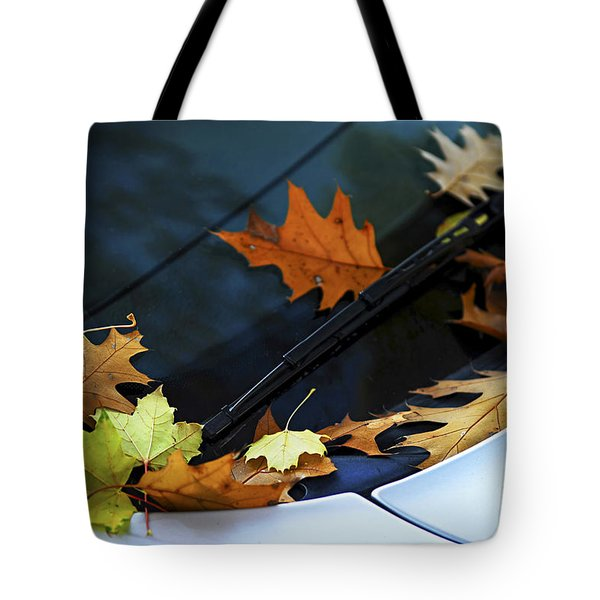 Fall Leaves On A Car Tote Bag by Elena Elisseeva