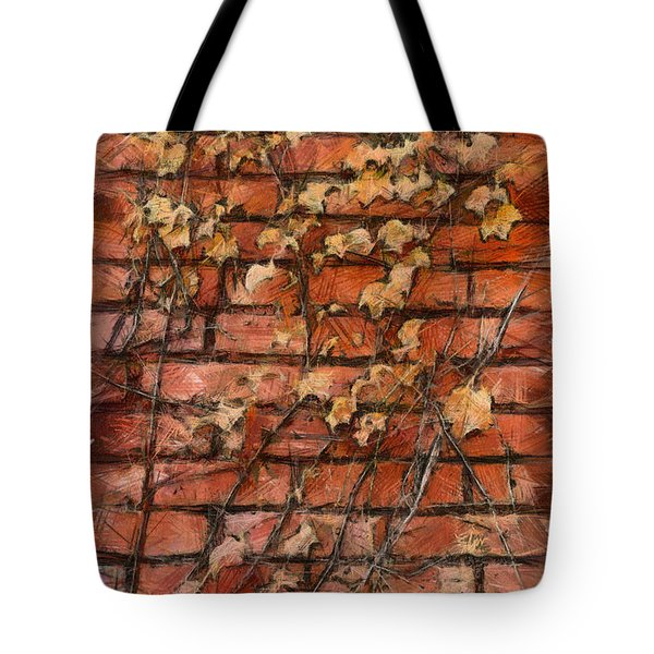 Fall Leaves On Red Brick Wall Tote Bag
