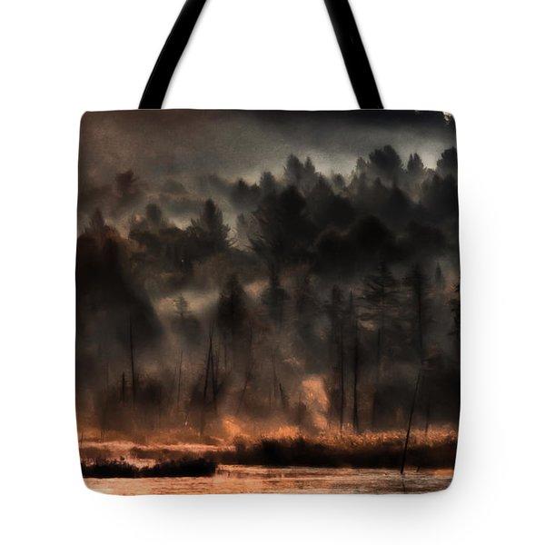 Fall Morning Fog Tote Bag by Jeff Folger