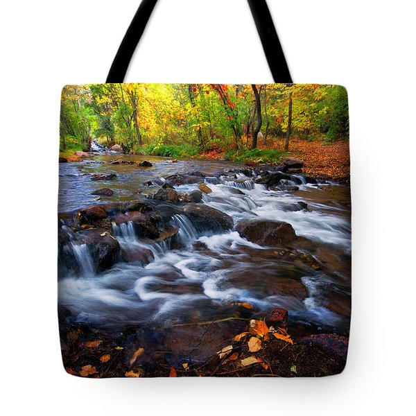 Tote Bag featuring the photograph Fall On Fountain Creek by Ronda Kimbrow