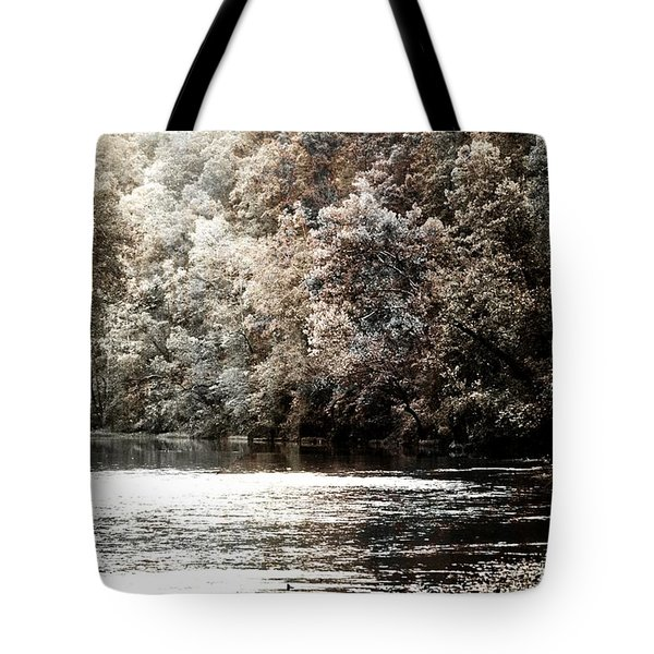 Fall On The Current Tote Bag by Marty Koch