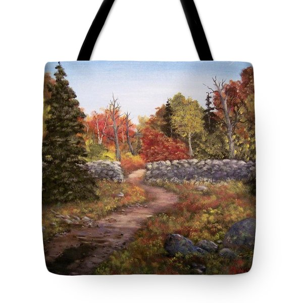 Tote Bag featuring the painting Fall Path by Megan Walsh
