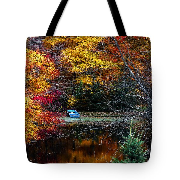 Fall Pond And Boat Tote Bag