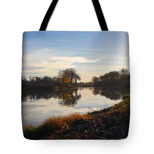 Fall Red River At Sunrise Tote Bag