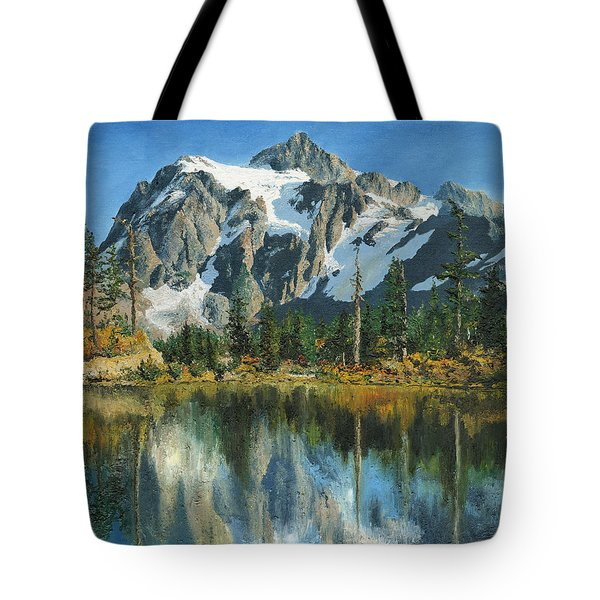 Fall Reflections - Cascade Mountains Tote Bag by Mary Ellen Anderson