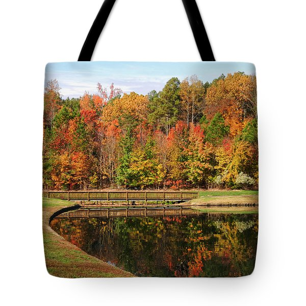 Tote Bag featuring the photograph Fall Reflections Three by Ben Shields