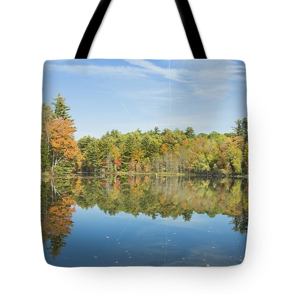 Fall Reflections On Torsey Pond Readfield Maine Tote Bag