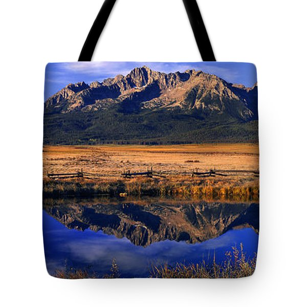 Tote Bag featuring the photograph Fall Reflections Sawtooth Mountains Idaho by Dave Welling