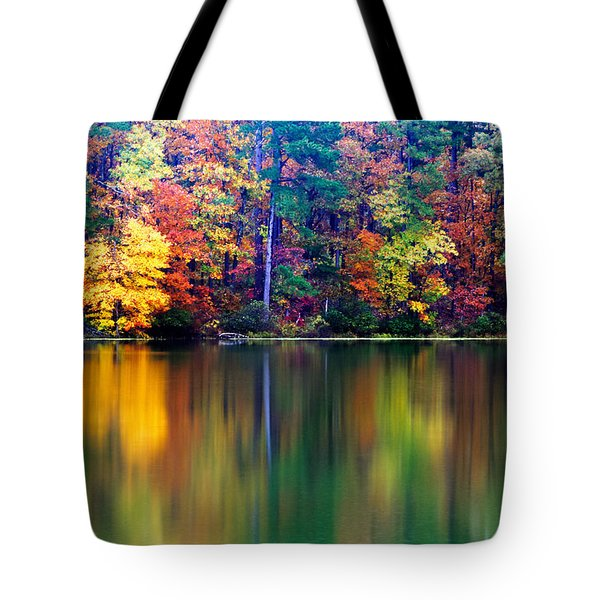 Fall Reflections Tote Bag by Tony  Colvin