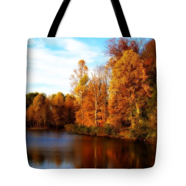 Fall Scene At Hedden Pond With Orton Effect Tote Bag by Eleanor Abramson