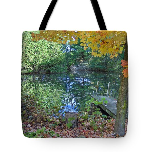 Fall Scene By Pond Tote Bag by Brenda Brown