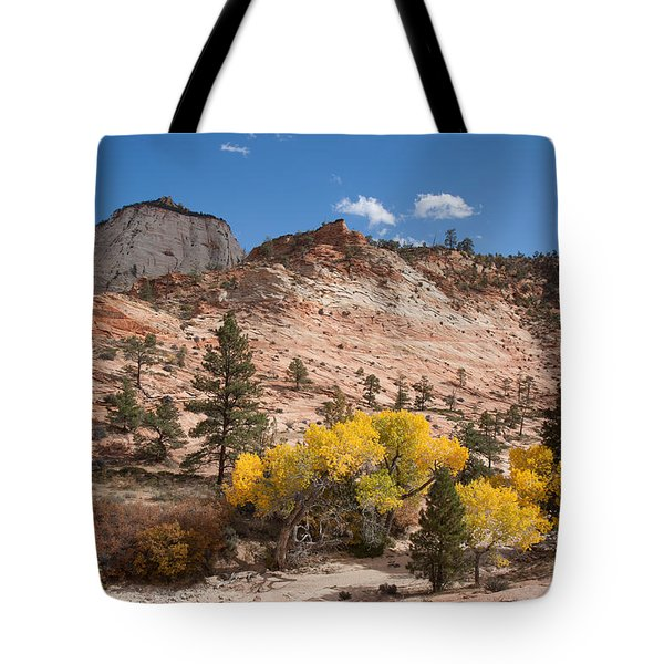 Tote Bag featuring the photograph Fall Season At Zion National Park by John M Bailey