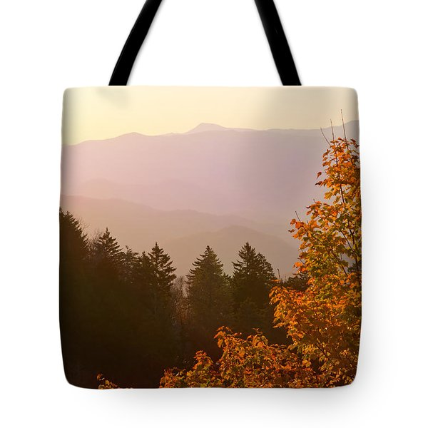 Fall Smoky Mountains Tote Bag by Melinda Fawver