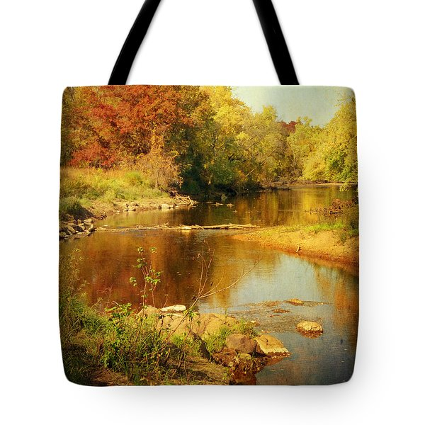 Fall Time At Rum River Tote Bag
