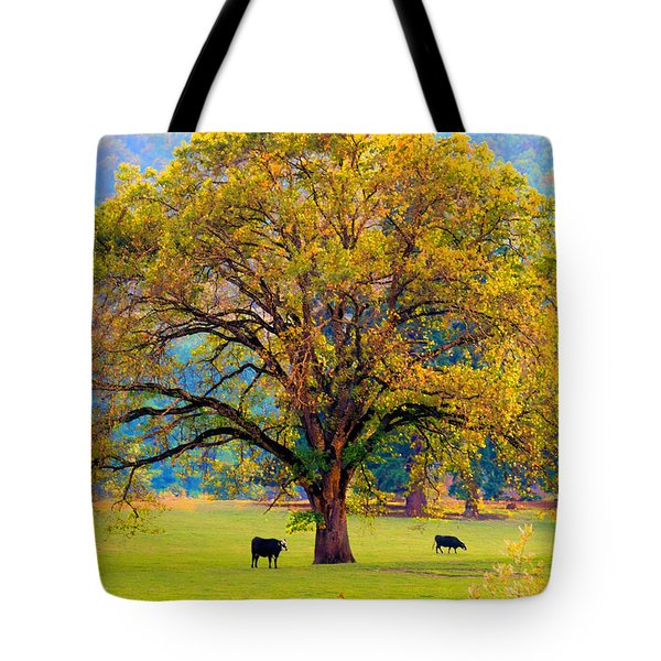 Fall Tree With Two Cows Tote Bag