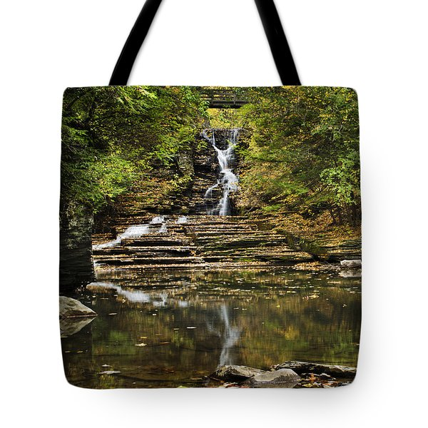 Fall Waterfall Creek Reflection Tote Bag by Christina Rollo