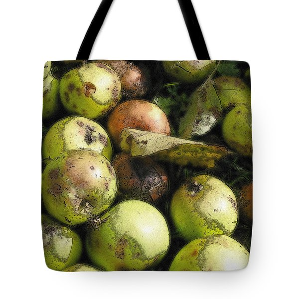 Tote Bag featuring the digital art Fallen Aplles by Ron Harpham