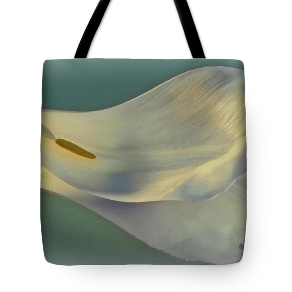 Fallen White Petal On Aqua Tote Bag