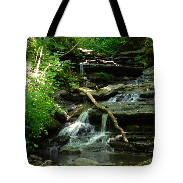 Tote Bag featuring the photograph Falling Water by Alan Lakin