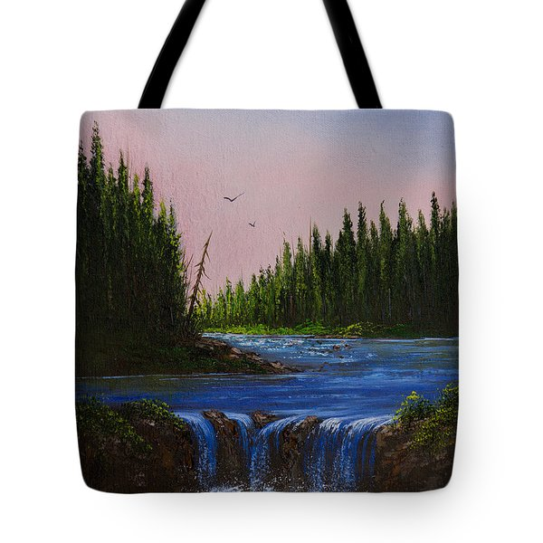 Falls At Rivers Bend Tote Bag by C Steele