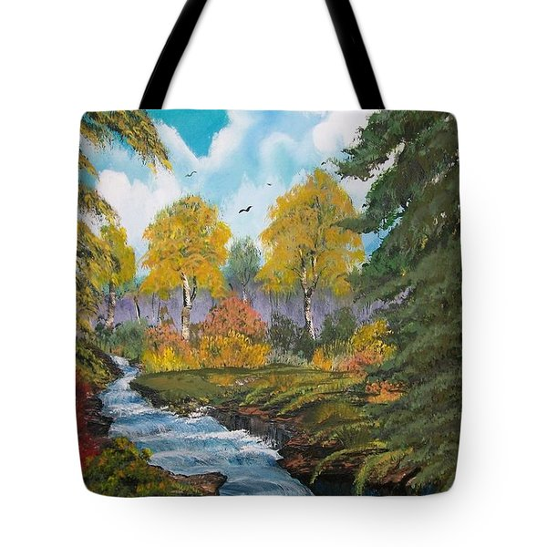 Tote Bag featuring the painting Rushing Waters  Falls  by Sharon Duguay