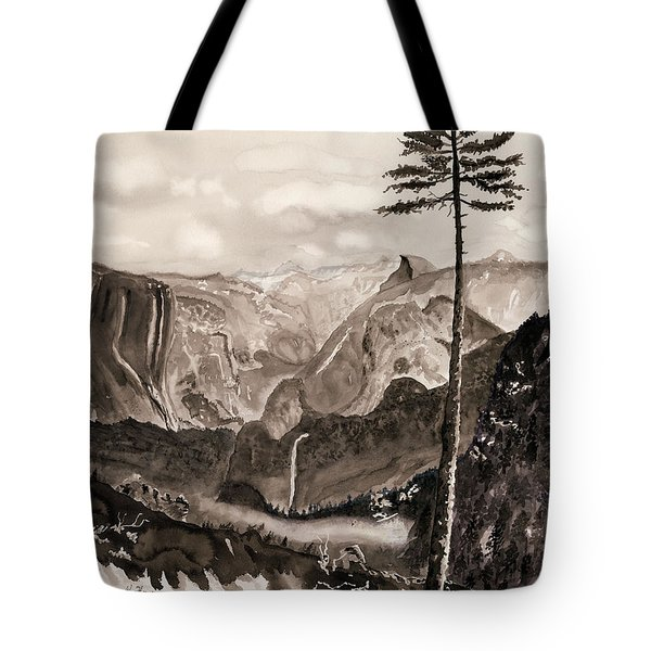 Falls Of The Yosemite Painting Tote Bag by Warren Thompson