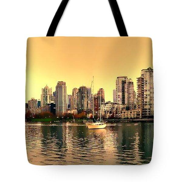 False Creek And Yaletown Panorama In Vancouver Canada Tote Bag