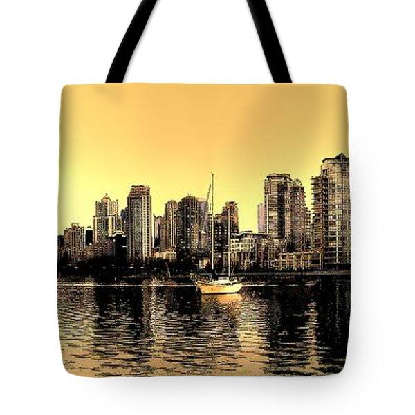 False Creek Vancouver Canada Inksketch Panorama Tote Bag