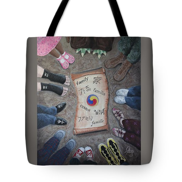 Tote Bag featuring the painting Famille Nomdaaa by Gigi Dequanne