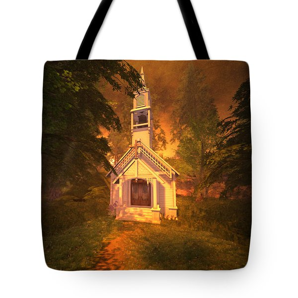 Tote Bag featuring the digital art Family Chapel by Kylie Sabra