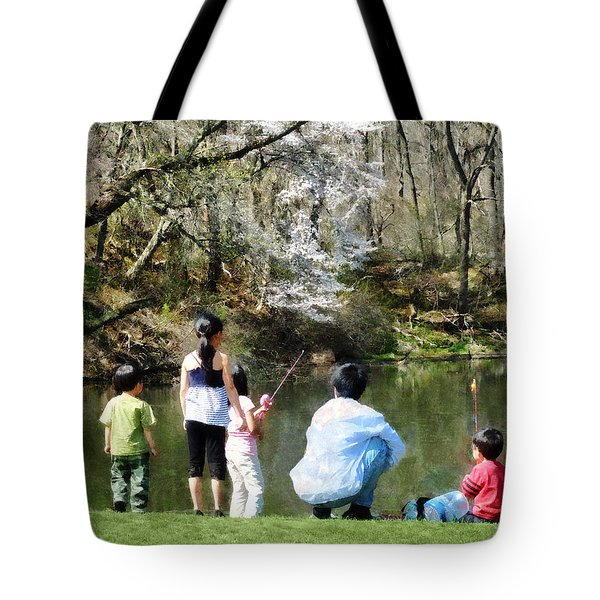 Tote Bag featuring the photograph Family Fishing by Susan Savad
