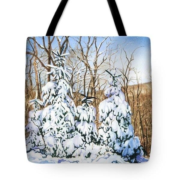 Tote Bag featuring the painting Family Of Four Trailside At 7 Springs by Barbara Jewell