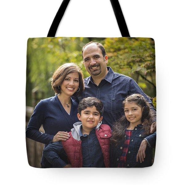 Family Portrait On Bridge - 1 Tote Bag