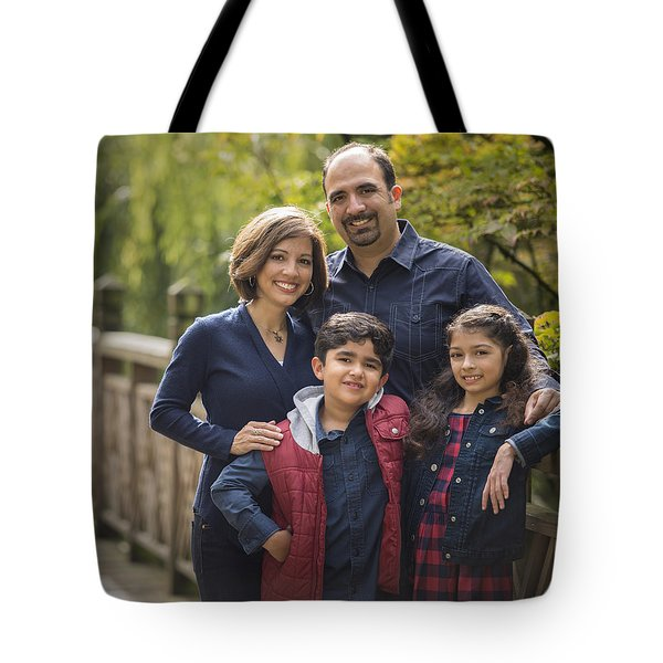 Family Portrait On Bridge - 2 Tote Bag