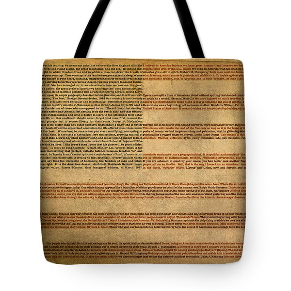 Famous Patriotic Quotes American Flag Word Art Tote Bag