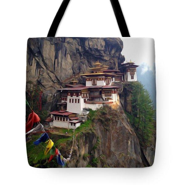 Famous Tigers Nest Monastery Of Bhutan 10 Tote Bag