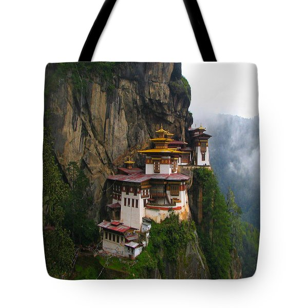 Famous Tigers Nest Monastery Of Bhutan Tote Bag by Lanjee Chee