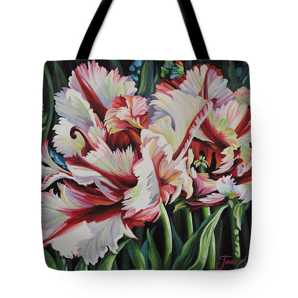 Tote Bag featuring the painting Fancy Parrot Tulips by Jane Girardot