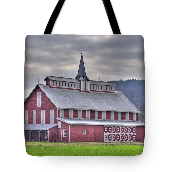 Fancy Red Barn Tote Bag by Shelly Gunderson