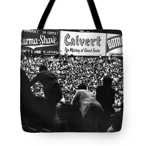 Fans In The Bleachers During A Baseball Game At Yankee Stadium Tote Bag