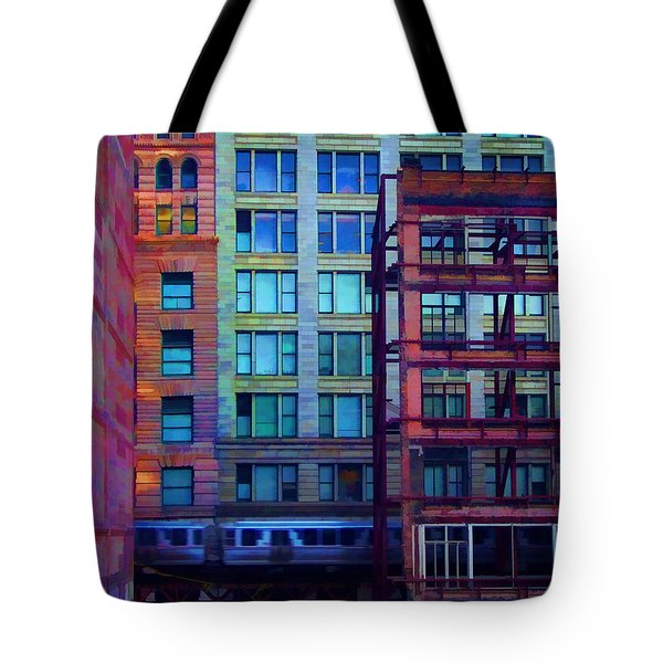 Tote Bag featuring the pyrography Fantastical Chicago Loop by John Hansen
