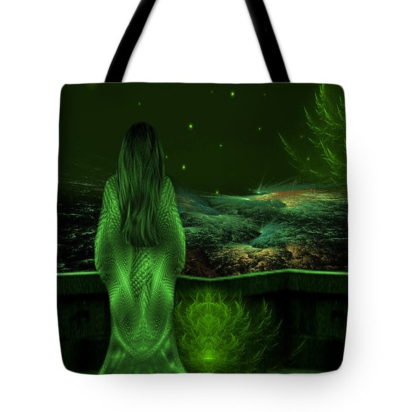 Fantasy Art - Wishing Upon A Star In A Green Night  By Rgiada  Tote Bag