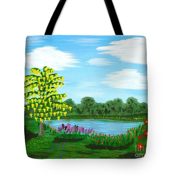 Fantasy Backyard Tote Bag by Vicki Maheu