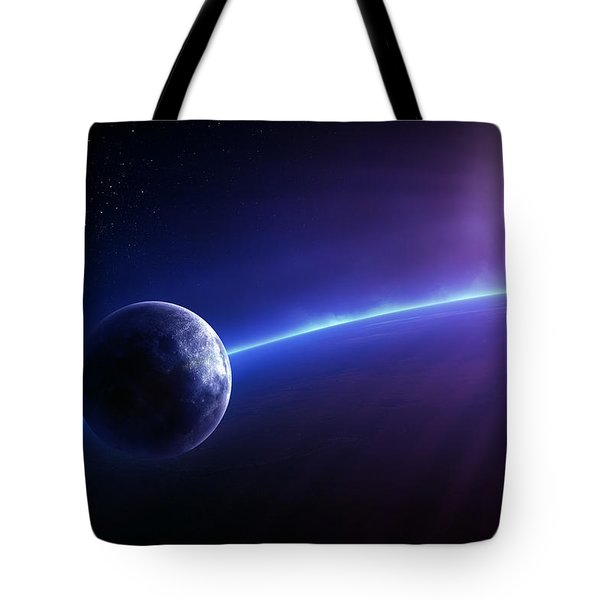 Fantasy Earth And Moon With Colourful  Sunrise Tote Bag by Johan Swanepoel