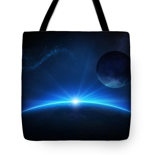 Fantasy Earth And Moon With Sunrise Tote Bag