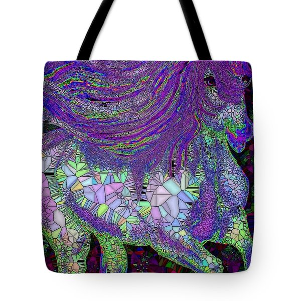 Fantasy Horse Purple Mosaic Tote Bag